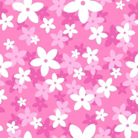flores fucsia: Patrón sin fisuras con flores blancas y rosadas.