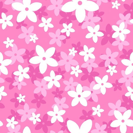 fuchsia: seamless pattern with white and pink flowers.