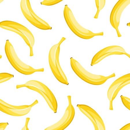 Seamless background with yellow bananas. Illustration
