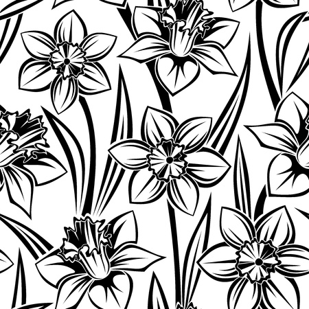 Seamless pattern with narcissus. Vector