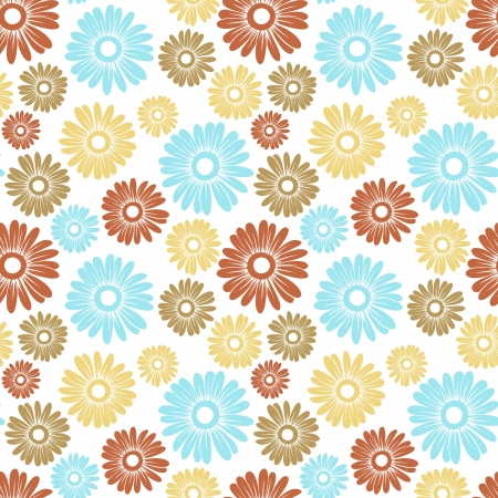 white daisy: Vector seamless pattern with blue and beige flowers.