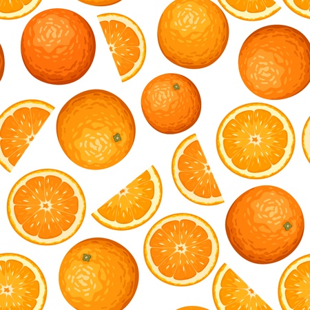 oranges: Seamless background with oranges. Vector illustration. Illustration