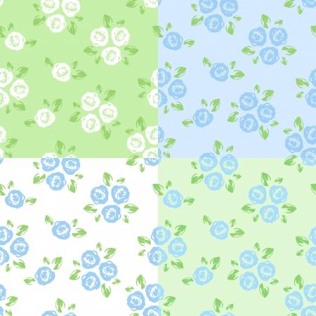 Set van vier naadloze patronen met rozen. Vector illustratie.