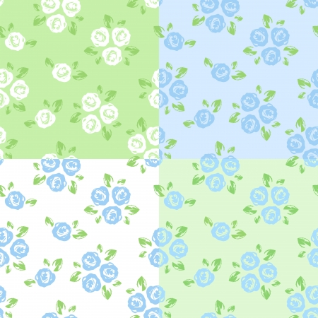 small flowers: Set of four seamless patterns with roses. Vector illustration. Illustration
