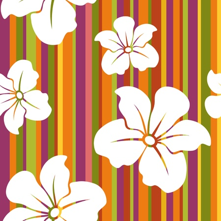 White flowers on a striped background  Vector