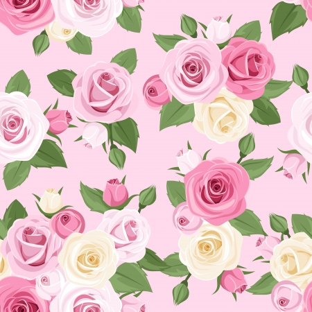 floral fabric: seamless pattern with pink and white roses on a pink background   Illustration
