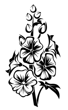 Black silhouette of mallow flowers. Vector