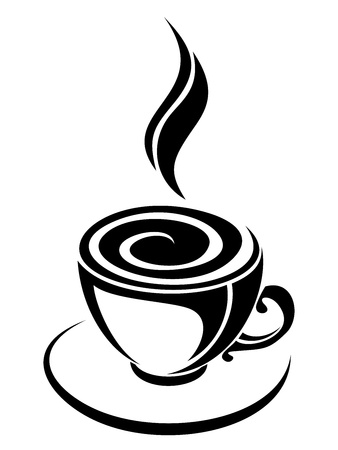 Cup of coffee.  black silhouette. Vector