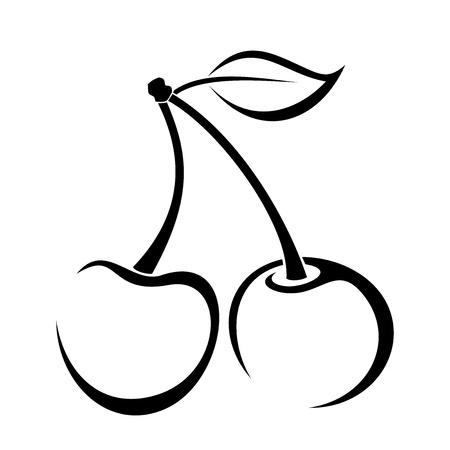 Dessin de contour de cerise.