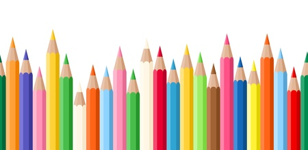 colour pencils: Horizontal seamless background with colored pencils.  Illustration