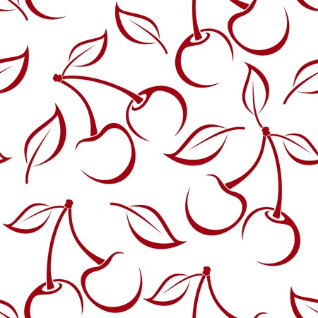 cherries isolated: Seamless background with cherry silhouettes.
