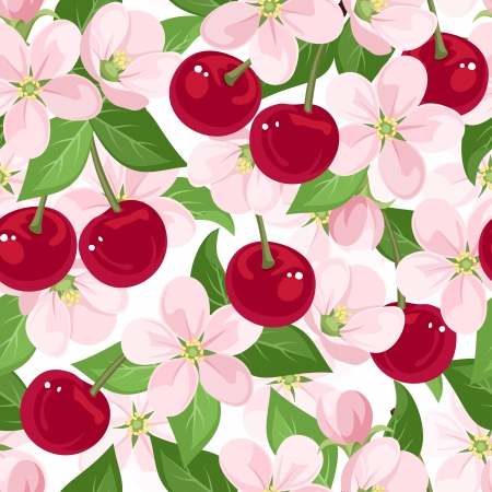 seamless pattern with cherry berries and flowers.  Vector