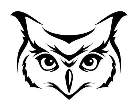 raptor: Head of horned owl. Vector illustration. Illustration