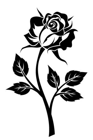 Negro silueta de rosa con tallo. Ilustración de vector