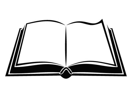 libros abiertos: Negro silueta de libro abierto.