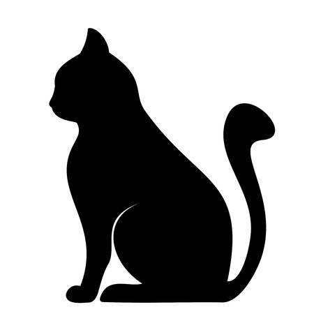 cat tail: Black silhouette of cat  Vector illustration