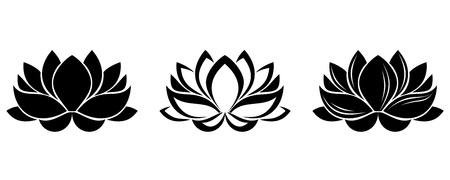 lily flower: Lotusbloemen silhouetten. Set van drie vector illustraties. Stock Illustratie