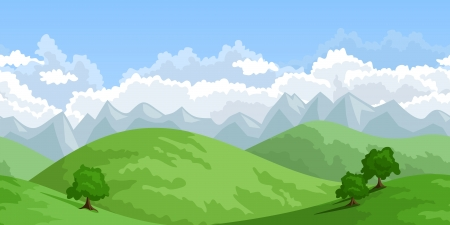 continuous: Horizontal seamless summer landscape.  illustration.