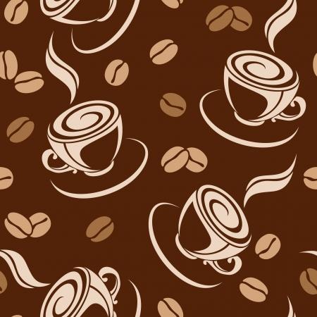 chicchi di caff�: Seamless sfondo con chicchi di caff� e tazze. illustrazione.
