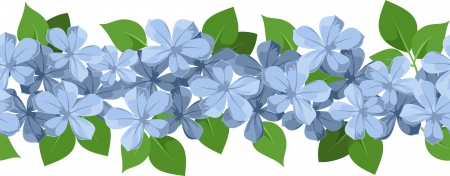 Horizontal seamless background with blue flowers. illustration. Stock Vector - 19047927