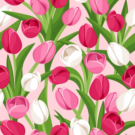 Seamless background with colored tulips.  illustration. Vector