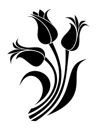 outline flower: Black silhouettes of tulips