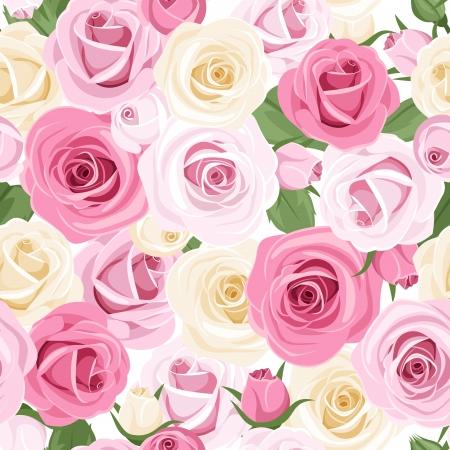 english rose: Seamless pattern with pink and white roses.