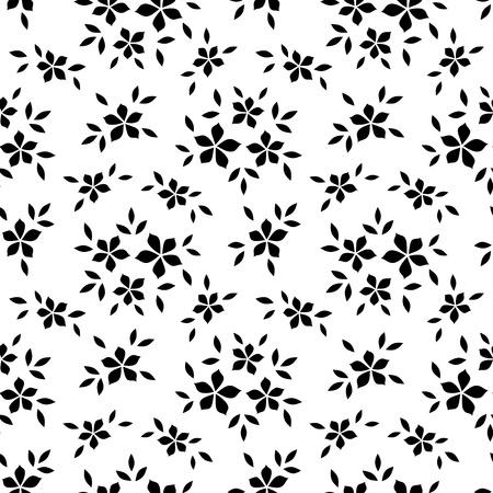 monochroom: Naadloos patroon met bloemen. Vector illustratie.