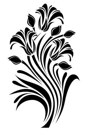 stencil: Black silhouette of flowers ornament. Vector illustration. Illustration