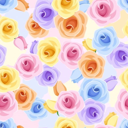 Vector seamless pattern with roses of various colors.  Stock Vector - 19355728