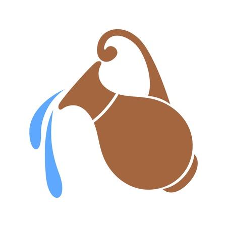ollas de barro: Vector silueta de la vasija de barro con agua.