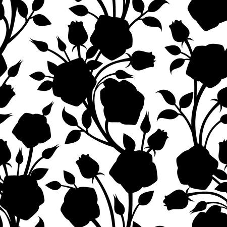 rosas negras: Patr?n sin fisuras con las rosas. Vector ilustraci?n.