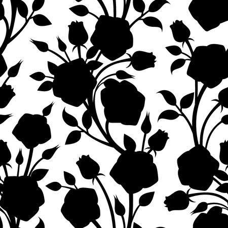 rose silhouette: Seamless pattern with roses. Vector illustration. Illustration