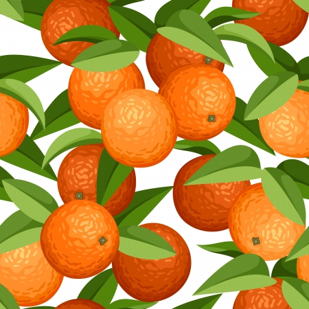 oranges: Seamless background with oranges and leaves. Vector illustration.