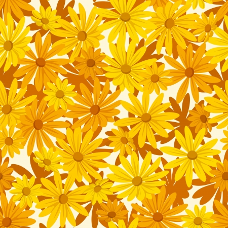 Seamless background with orange and yellow flowers. Vector illustration. Stock Vector - 19420073
