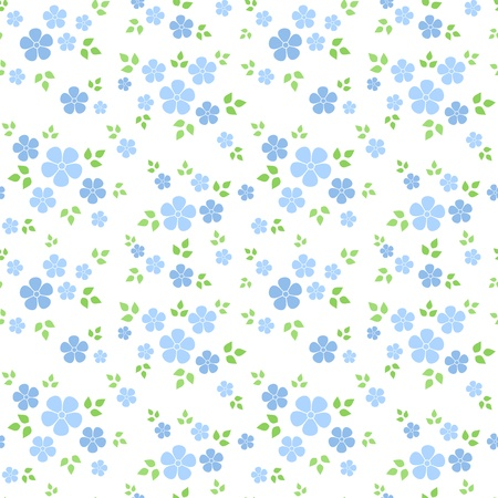 floret: Seamless pattern with small blue flowers. Vector illustration.