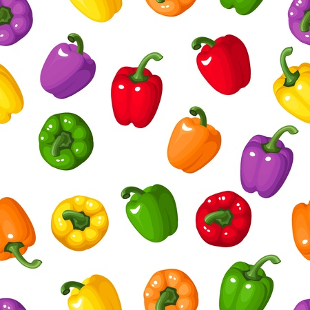 green and purple vegetables: Vector seamless background with colorful bell peppers.