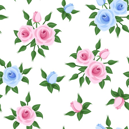 Seamless pattern with pink and blue roses. Vector illustration. Vector