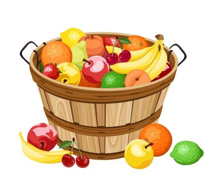 fruitmand: Houten mand met verschillende vruchten. Vector illustratie.
