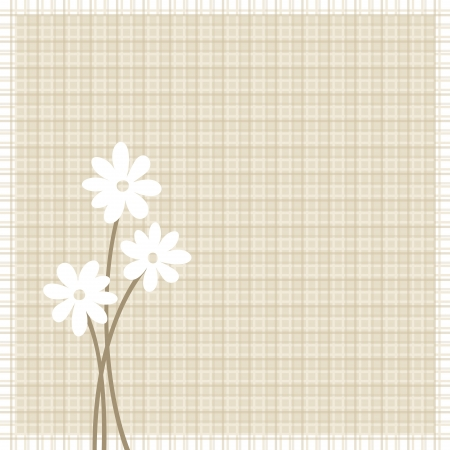 sacking: Flowers on beige sacking background.  illustration.