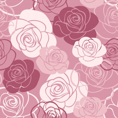 Seamless pattern with roses  illustration  Illustration