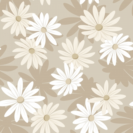 Seamless background with white and beige flowers.illustration. Stock Vector - 19594871