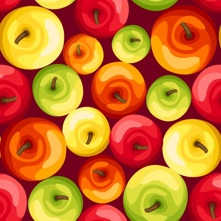 yellow apple: Seamless background with colorful apples.illustration. Illustration