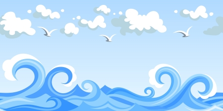 Sea waves and clouds. Vector horizontal seamless landscape. Stock Vector - 19754274