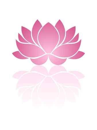 outline flower: Pink lotus.  illustration. Illustration