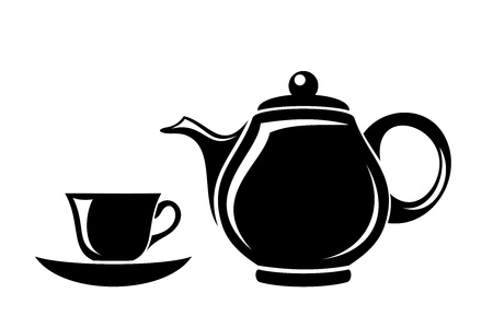 Black silhouette of teapot and cup. Vector