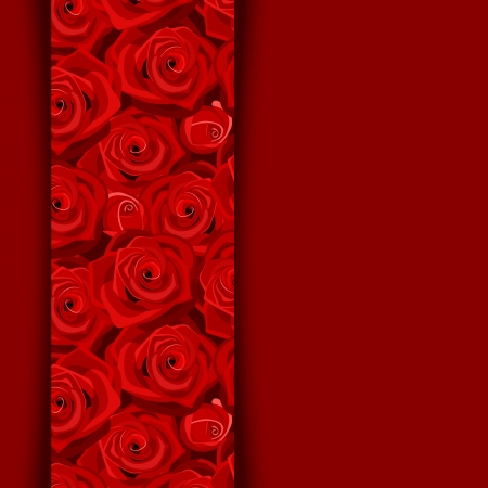 Vector card with red roses.  Vector
