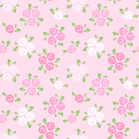 bedclothes: Seamless pattern with pink and white roses  Vector illustration