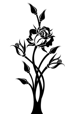 Black silhouette of branch with rose and buds. Vector illustration. Stock Vector - 19913727
