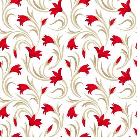 pattern seamless: Seamless pattern with red gladiolus flowers.